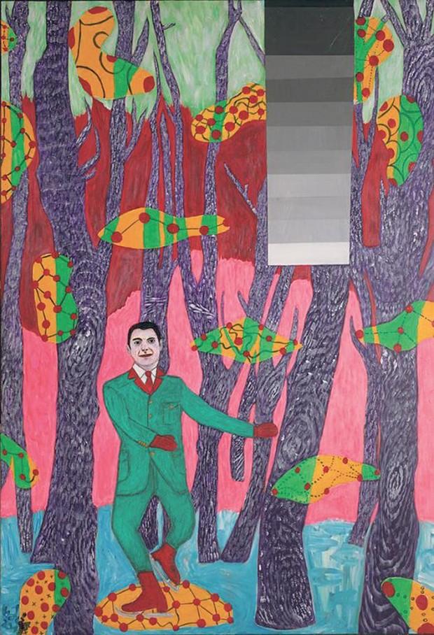Lázár vadászruhában piruettezik az L. Simontól kapott festményen